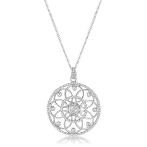 1.4 Ct Rhodium Pendant Necklace with Interlocking Circles and CZ - Jewelry Xoxo
