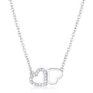 Sweet and Romantic Rhodium Melded CZ Hearts Necklace - Jewelry Xoxo