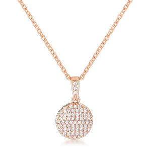 Rose Gold Plated Necklace with CZ Disk Pendant - Jewelry Xoxo