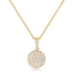 Gold Plated Necklace with CZ Disk Pendant - Jewelry Xoxo