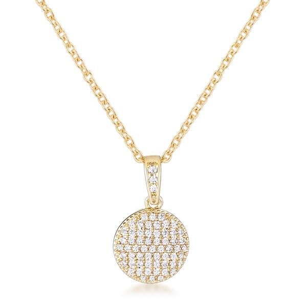 Gold Plated Necklace with CZ Disk Pendant