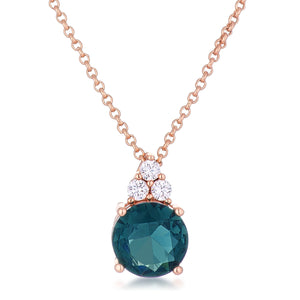 Simple Rose Gold Plated 9mm Blue Green CZ Pendant - Jewelry Xoxo