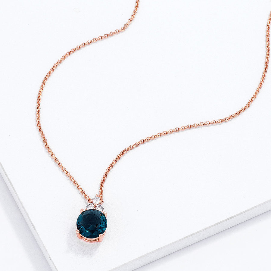 Simple Rose Gold Plated 9mm Blue Green CZ Pendant