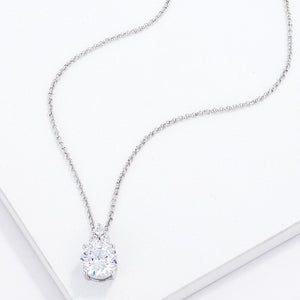Simple Rhodium Plated 9mm Clear CZ Pendant - Jewelry Xoxo