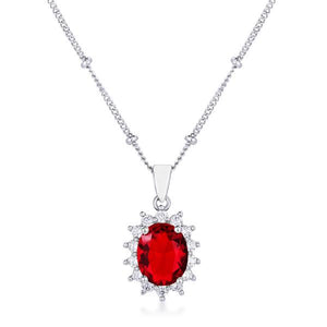 Rhodium Plated Ruby Red Petite Royal Oval Pendant - Jewelry Xoxo
