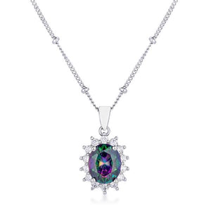 Rhodium Plated Mystic Petite Royal Oval Pendant - Jewelry Xoxo