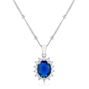 Rhodium Plated Sapphire Blue Petite Royal Oval Pendant - Jewelry Xoxo