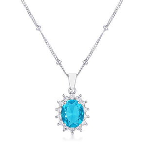 Rhodium Plated Aqua Blue Petite Royal Oval Pendant - Jewelry Xoxo
