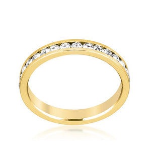 Stylish Stackables Clear Crystal Gold Ring - Jewelry Xoxo