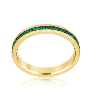 Stylish Stackables Eternity Green Crystal Ring - Jewelry Xoxo