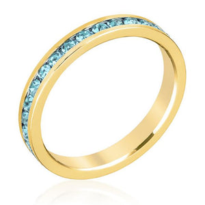 Stylish Stackables Aqua Crystal Gold Ring - Jewelry Xoxo
