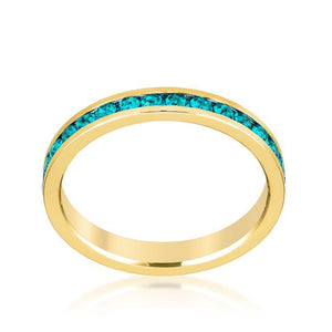 Stylish Stackables Turquoise Crystal Gold Ring - Jewelry Xoxo