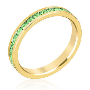 Stylish Stackables Peridot Crystal Gold Ring - Jewelry Xoxo