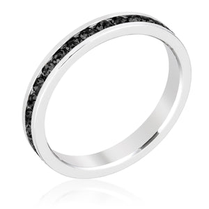 Stylish Stackables with Jet Black Crystal Ring - Jewelry Xoxo