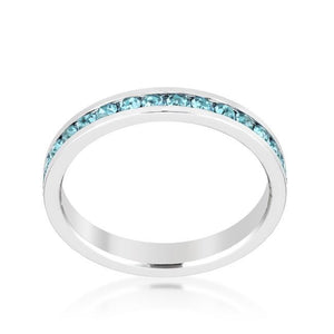 Stylish Stackables Aquamarine Crystal Ring - Jewelry Xoxo