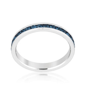Stylish Stackables with Montana Blue Crystal Ring - Jewelry Xoxo