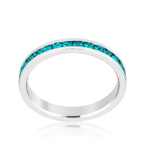 Stylish Stackables with Turquoise Crystal Ring - Jewelry Xoxo
