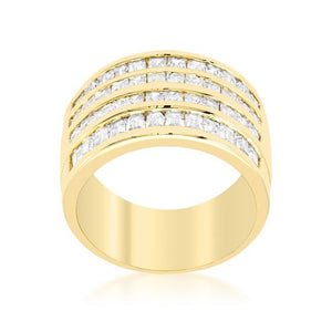 4 Row Gold Cubic Zirconia Cocktail Ring - Jewelry Xoxo