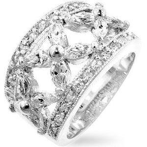 Floral Cubic Zirconia Eternity Ring - Jewelry Xoxo