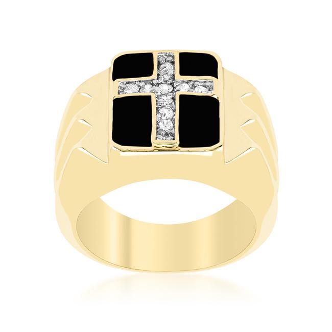 Faceted Cross Cubic Zirconia Ring