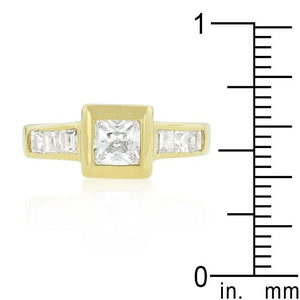 Simple Golden Square Bezel Cubic Zirconia Ring - Jewelry Xoxo