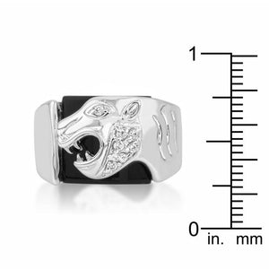 Onyx Panther Mens Ring - Jewelry Xoxo