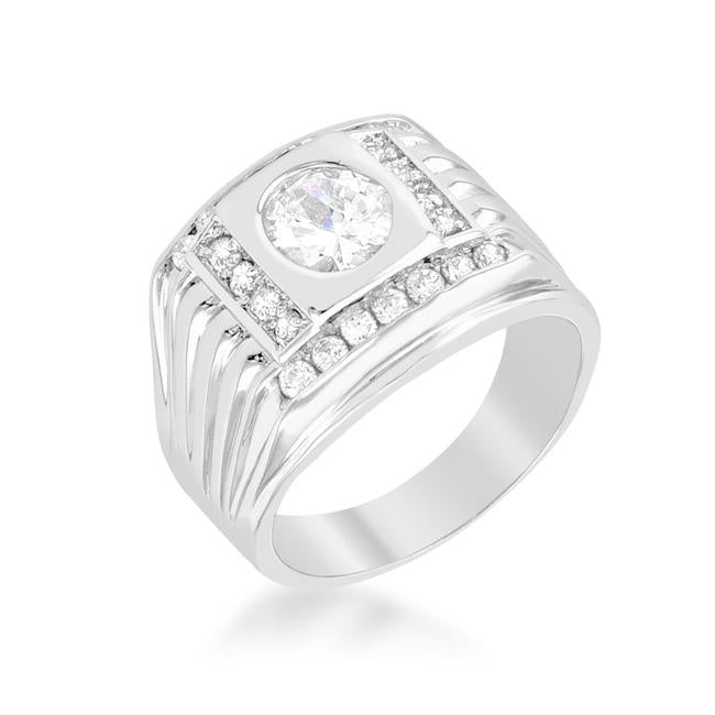 Mens Cubic Zirconia Square Ring