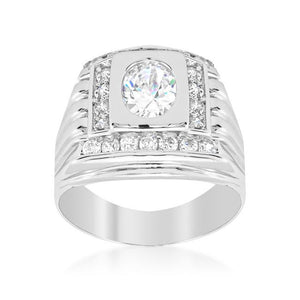 Mens Cubic Zirconia Square Ring - Jewelry Xoxo