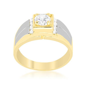 Cubic Zirconia Two-Tone Mens Ring - Jewelry Xoxo