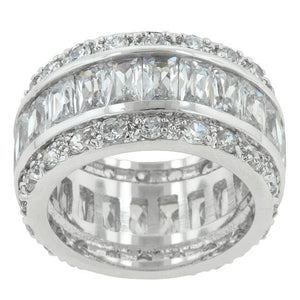 Triple Row White Zircon Eternity Ring - Jewelry Xoxo