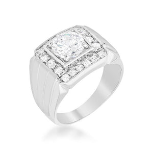 Mens Two-tone Finish Cubic Zirconia Ring - Jewelry Xoxo