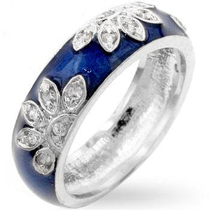 Enamel Cubic Zirconia Leaf Ring - Jewelry Xoxo