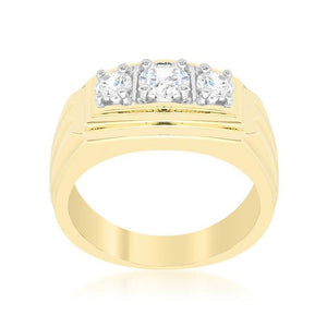 Golden Triplet Cubic Zirconia Ring - Jewelry Xoxo