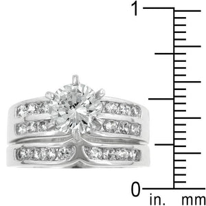 Formal Rhodium Plated Engagement Set - Jewelry Xoxo