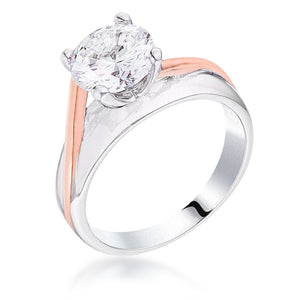 Two-tone Finish Solitaire Engagement Ring - Jewelry Xoxo