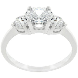 Oval Serenade Triplet Ring in Silvertone Finish - Jewelry Xoxo