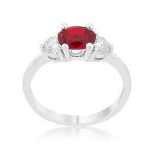 Miranna 1.2ct Garnet CZ Rhodium Classic Oval Ring - Jewelry Xoxo