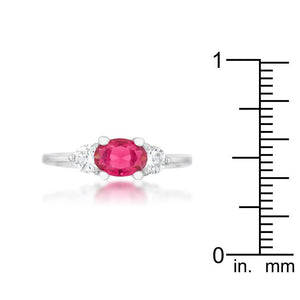 Miranna 1.2ct Fuchsia CZ Rhodium Classic Oval Ring - Jewelry Xoxo