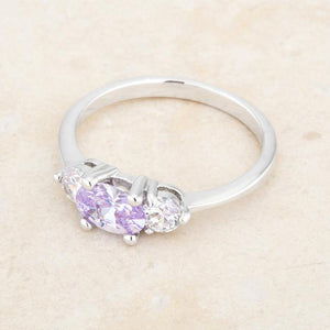 Miranna 1.2ct Lavender CZ Rhodium Classic Oval Ring - Jewelry Xoxo