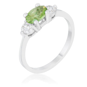Miranna 1.2ct Peridot CZ Rhodium Classic Oval Ring - Jewelry Xoxo