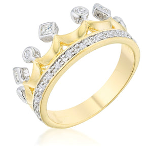 Two Tone Crown Ring - Jewelry Xoxo