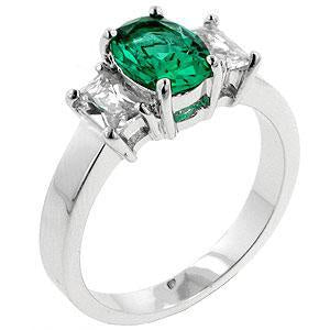 Apple Green Engagement Ring - Jewelry Xoxo