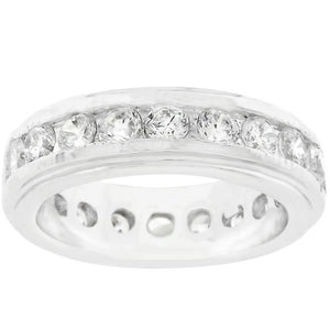 New England Eternity Ring in Rhodium Plated - Jewelry Xoxo