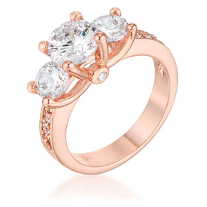 Dazzling Three Stone Engagement Ring with CZ - Jewelry Xoxo