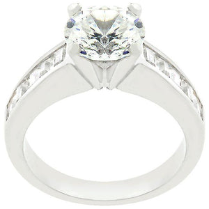 Classic Rhodium Plated Engagement Ring - Jewelry Xoxo