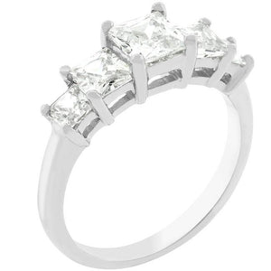5-Stone Anniversary Ring in Rhodium Plated - Jewelry Xoxo