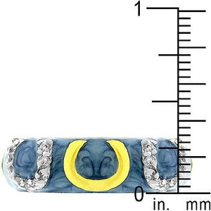 Blue Enamel Horseshoe Ring - Jewelry Xoxo