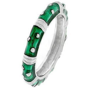 Marbled Dark Green Enamel Stacker Ring - Jewelry Xoxo
