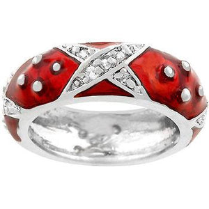 Marbled Ruby Red Enamel Ring - Jewelry Xoxo