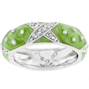 Marbled Apple Green Enamel Ring - Jewelry Xoxo